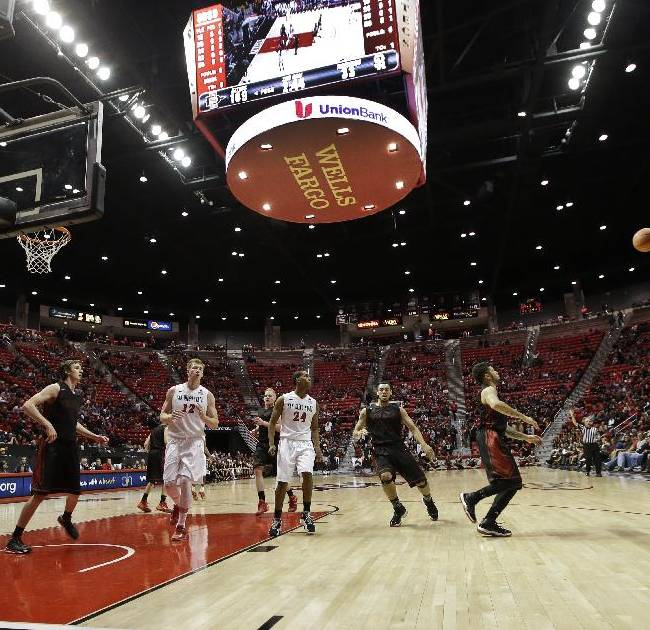 San Diego State guard Desmond Maxwell, right, shoots a 3-point shot with the score board showing San Diego State with a 76 point lead in the closing minutes of the second half of a NCAA college basketball game Friday, Dec. 27, 2013, in San Diego. San Diego State won 118-35