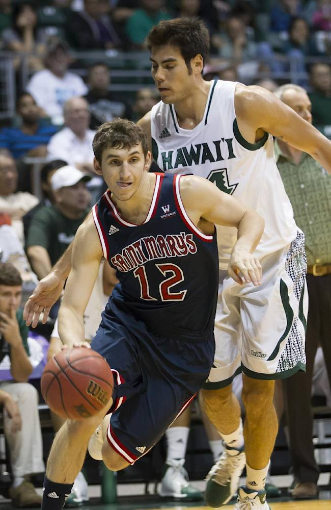St. Mary's guard Jordan Giusti (12) gets past Hawaii forward Christian Standhardinger, right, and drives the baseline in the first half of an NCAA college basketball game at the Diamond Head Classic Monday, Dec. 23, 2013, in Honolulu