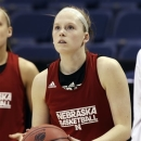 Nebraska guard Lindsey Moore (00) looks for a shot during practice for their NCAA college basketball regional semifinal in Norfolk, Va., Saturday, March 30, 2013. Nebraska is scheduled to play Duke Sunday. (AP Photo/Steve Helber)