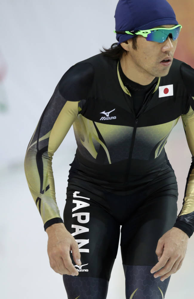 Speedskater Keiichiro Nagashima trains at the Adler Arena Skating Center during the 2014 Winter Olympics in Sochi, Russia, Friday, Feb. 7, 2014