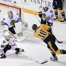 Nashville Predators left wing James Neal (18) shoots wide of the net as Chicago Blackhawks goalie Scott Darling (33) and Ben Smith (28) defend in the first period of an NHL hockey game Saturday, Dec. 6, 2014, in Nashville, Tenn The Associated Press