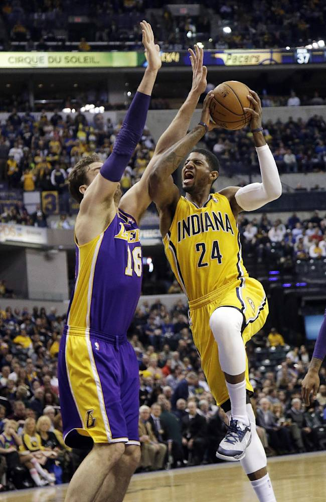 George helps Pacers pull away from Lakers, 118-98
