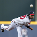 Atlanta Braves starting pitcher Ervin Santana works in the first inning of baseball game against the Miami Marlins in Atlanta, Wednesday, July 23, 2014. Atlanta won 6-1. (AP Photo)