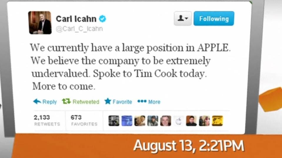 FACTBOX: Icahn pressures Apple - A Twitter Timeline