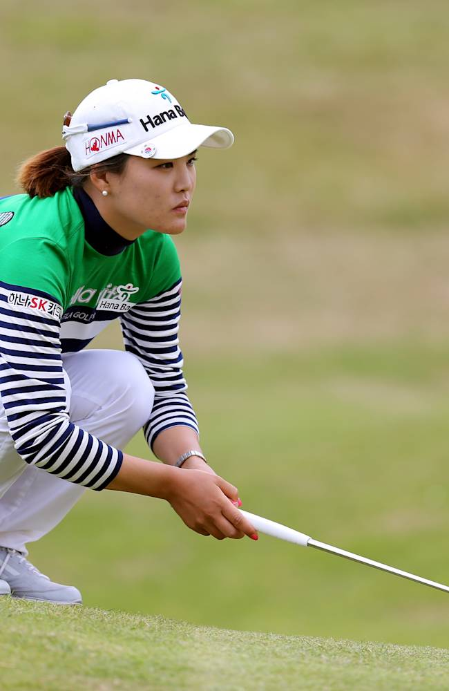 South Korea's So Yeon Ryu lines up her putt on the 18th green during the third day of the Women's British Open golf championship at the Royal Birkdale Golf Club, Southport, England, Saturday July 12, 2014