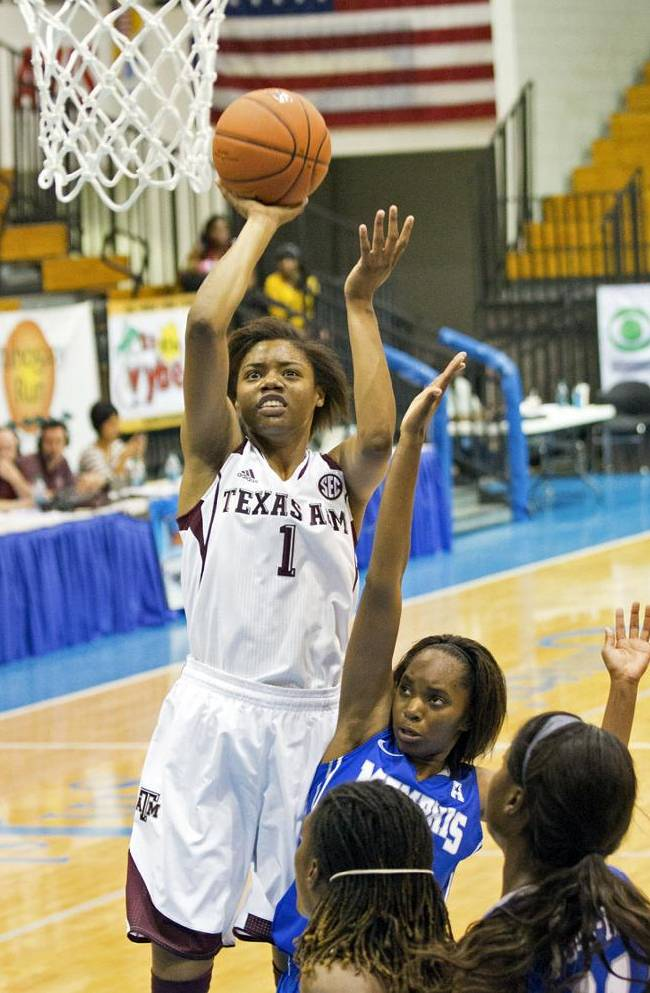Texas A&M's Courtney Williams, left, shoots for a basket over Memphis' Mooriah Rowser during the first half of an NCAA college basketball game in St. Thomas, U.S. Virgin Islands, Thursday, Nov. 28, 2013