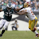 Washington Redskins inside linebacker Perry Riley pushes Philadelphia Eagles running back LeSean McCoy out of bounds during the second half of an NFL football game in Philadelphia, Sunday, Nov. 17, 2013 The Associated Press