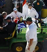 Colorado State defensive back Bernard Blake is carted off field after being injured defending against a touchdown pass by UTEP in the third quarter of an NCAA college football game in Fort Collins, Colo., on Saturday, Sept. 28, 2013. (AP Photo/David Zalubowski)