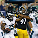 Philadelphia Eagles' LeSean McCoy (25) celebrates with teammate Jordan Matthews (81) after scoring a touchdown during the first half of an NFL preseason football game against the Pittsburgh Steelers, Thursday, Aug. 21, 2014, in Philadelphia The Associated