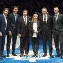 CORRECTS SPELLING OF FIRST NAME TO LINE FROM LYNN - Hockey Hall of Fame 2014 inductees, from left, Peter Forsberg, Mike Modano, Bill McCreary, the wife of the late Pat Burns, Line Burns, Dominik Hasek, and Rob Blake pose at center ice before NHL hockey g