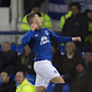 Everton's Ross Barkley celebrates after scoring during the English Premier League soccer match between Everton and Queens Park Rangers at Goodison Park Stadium, Liverpool, England, Monday Dec. 15, 2014