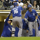 Kansas City Royals' Billy Butler(16) is welcomed back to the dugout after his home run in the fifth inning of an exhibition baseball game against the Milwaukee Brewers Friday, March 28, 2014, in Milwaukee The Associated Press