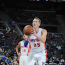 DETROIT, MI - OCTOBER 23: Kyle Singler #25 of the Detroit Pistons prepares to shoot a free throw against the Philadelphia 76ers during the game on October 23, 2014 at the The Palace of Auburn Hills in Detroit, Michigan. (Photo by Allen Einstein/NBAE via Getty Images)