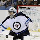 Winnipeg Jets goaltender Ondrej Pavelec, of the Czech Republic makes a pad save during the first period of an NHL hockey game against the Buffalo Sabres Wednesday, Nov. 26, 2014, in Buffalo, N.Y The Associated Press