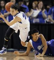 Creighton's Carli Tritz , left, brings the ball up as Drake's Morgan Reid slips during the first half in an NCAA college basketball game for the Missouri Valley Conference women's tournament title, Sunday, March 11, 2012, in St Charles, Mo. (AP Photo/Jeff Roberson)