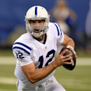 Indianapolis Colts' Andrew Luck looks to throw during the first half of an NFL preseason football game against the New York Giants on Saturday, Aug. 16, 2014, in Indianapolis The Associated Press