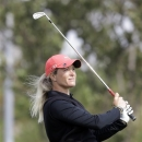 Suzann Pettersen of Norway watches her shot on the third hole during the second round of the LPGA Championship golf tournament at Sky72 Golf Club in Incheon, west of Seoul, South Korea, Saturday, Oct. 20, 2012. (AP Photo/Lee Jin-man)