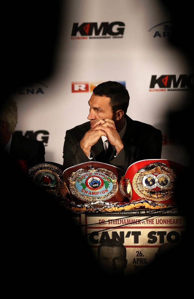 Wladimir Klitschko pauses during a press conference ahead of the IBF, IBO, WBO and WBA heavyweight  title bout on April 26,2014 between Wladimir Klitschko of Ukraine and Alex Leapai of Australia in Oberhausen, Germany, Tuesday, Feb. 11, 2014