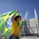 A Brazilian fan arrives for the soccer Confederations Cup group A match between Brazil and Mexico at Castelao stadium in Fortaleza, Brazil, Wednesday, June 19, 2013. (AP Photo/Natacha Pisarenko)
