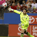 Aston Villa goalie Shay Given clears the ball in the first half of an international friendly soccer match against FC Dallas, Wednesday, July 23, 2014, in Frisco, Texas