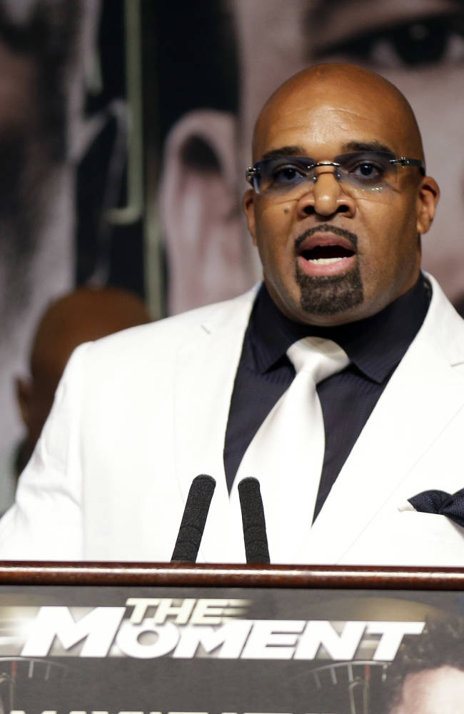 Mayweather Promotions CEO Leonard Ellerbe speaks during a news conference on Wednesday, April 30, 2014, in Las Vegas. Marcos Maidana is to square off with Floyd Mayweather Jr. in a welterweight title fight on Saturday, May 3