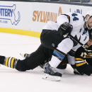 San Jose Sharks defenseman Marc-Edouard Vlasic (44) checks Boston Bruins left wing Milan Lucic (17) to the ice as they chase the puck during the second period of an NHL hockey game in Boston, Tuesday, Oct. 21, 2014 The Associated Press