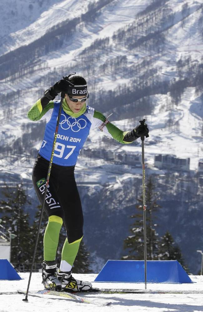 Jaqueline Mourao of Brazil skis during a biathlon training session at the 2014 Winter Olympics, Friday, Feb. 7, 2014, in Krasnaya Polyana, Russia