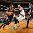 Paul George #24 of the Indiana Pacers drives against the Boston Celtics during the game at the TD Garden on March 1, 2014 in Washington, DC. (Photo by Ned Dishman/NBAE via Getty Images)