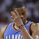 Oklahoma City Thunder point guard Russell Westbrook reacts against the Miami Heat during the first half at  Game 5 of the NBA finals basketball series, Thursday, June 21, 2012, in Miami. (AP Photo/Lynne Sladky)