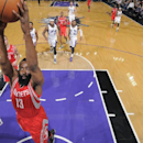 SACRAMENTO, CA - FEBRUARY 25: James Harden #13 of the Houston Rockets dunks the ball against the Sacramento Kings at Sleep Train Arena on February 25, 2014 in Sacramento, California. (Photo by Rocky Widner/NBAE via Getty Images)