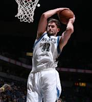 MINNEAPOLIS, MN - FEBRUARY 19: Kevin Love #42 of the Minnesota Timberwolves grabs a rebound against the Indiana Pacers during the game on February 19, 2014 at Target Center in Minneapolis, Minnesota. (Photo by David Sherman/NBAE via Getty Images)
