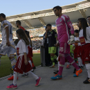 Los Angeles Galaxy midfielder Landon Donovan, left, and Los Angeles Galaxy goalie Jamie Penedo, right, walk onto the field prior to the game against the Seattle Sounders in an MLS soccer match in Carson, Calif., Sunday, Oct. 19, 2014 The Associated Press