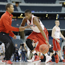 Wisconsin guard Riley Dearring, left, drills during practice for an NCAA Final Four tournament college basketball semifinal game Friday, April 4, 2014, in Dallas. Wisconsin plays Kentucky on Saturday, April 5, 2014 The Associated Press