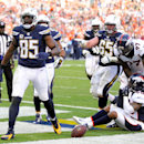 San Diego Chargers tight end Antonio Gates, celebrates after scoring against the Denver Broncos during the second half in an NFL football game Sunday, Dec. 14, 2014, in San Diego The Associated Press