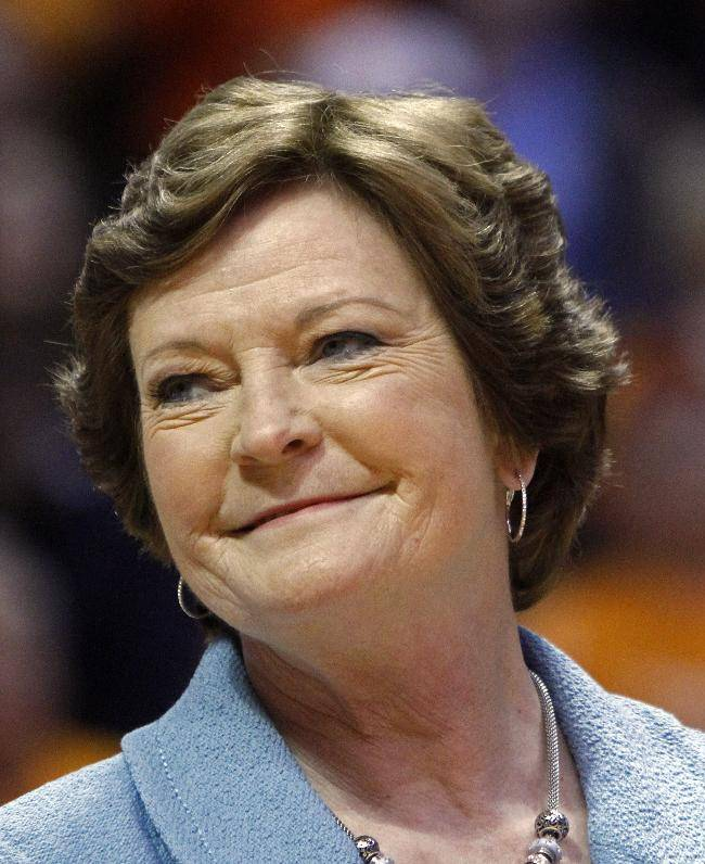 In this Jan. 28, 2013, file photo, Tennessee head coach emeritus Pat Summitt smiles as a banner is raised in her honor before an NCAA college basketball game against Notre Dame in Knoxville, Tenn. Former Tennessee coach Summitt is undergoing knee replacement surgery. Summitt wrote on her Twitter account Wednesday, May 21, 2014,