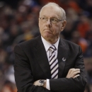 Syracuse coach Jim Boeheim reacts during the first half of a third-round game against the Dayton in the NCAA men's college basketball tournament in Buffalo, N.Y., Saturday, March 22, 2014. (AP Photo/Bill Wippert)