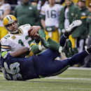Seattle Seahawks' Cliff Avril (56) sacks Green Bay Packers' Aaron Rodgers (12) during the second half of the NFL football NFC Championship game Sunday, Jan. 18, 2015, in Seattle The Associated Press