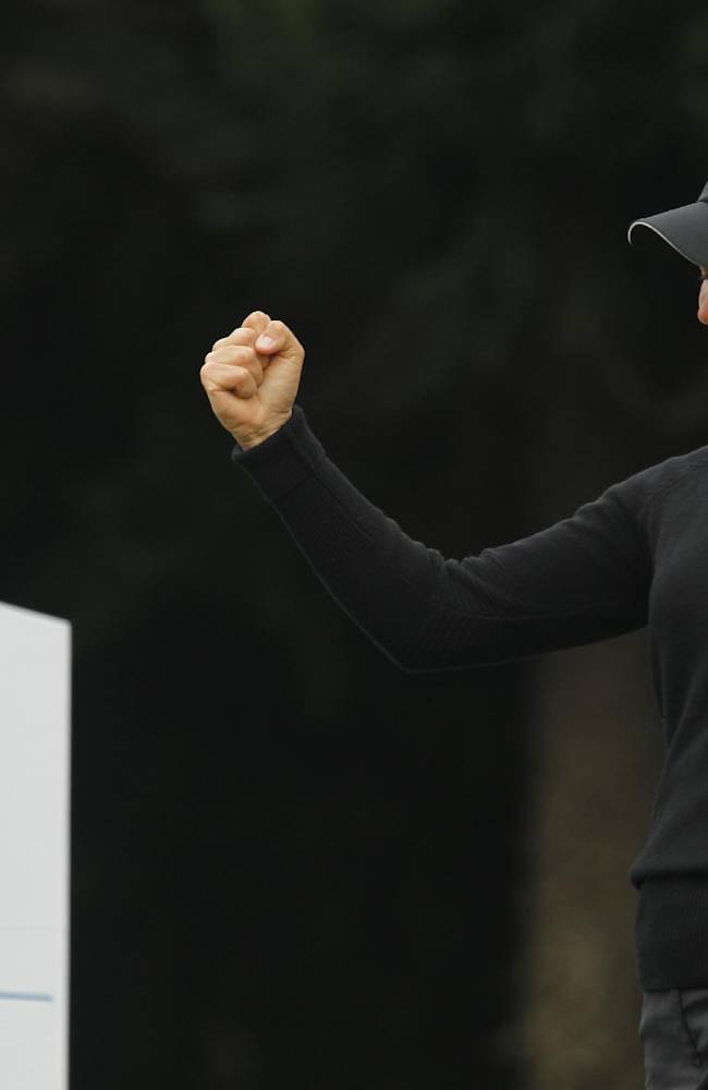 Suzann Pettersen of Norway, celebrates her hole in one on the 2nd hole during the second round of the Sunrise LPGA Taiwan Championship tournament at the Sunrise Golf & Country Club, Friday, Oct. 25, 2013, in Yangmei, north eastern Taiwan
