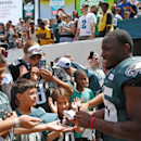 Philadelphia Eagles running back LeSean McCoy signs autographs for fans after NFL football training camp Monday, July 28, 2014, in Philadelphia The Associated Press