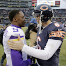 Minnesota Vikings quarterback Teddy Bridgewater (5) congratulates Chicago Bears quarterback Jay Cutler (6) after their NFL football game Sunday, Nov. 16, 2014 in Chicago. The Bears won 21-13 The Associated Press