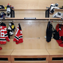 The locker of New Jersey Devils goaltender Martin Brodeur is empty as the NHL hockey team cleaned out their lockers Monday, April 14, 2014, in Newark, N.J The Associated Press