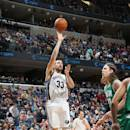 MEMPHIS, TN - NOVEMBER 21: Marc Gasol #33 of the Memphis Grizzlies shoots against the Boston Celtics during the game on November 21, 2014 at FedExForum in Memphis,Tennessee. (Photo by Joe Murphy/NBAE via Getty Images)