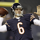 Chicago Bears quarterback Jay Cutler (6) warms up before an NFL football game against the New Orleans Saints Monday, Dec. 15, 2014, in Chicago. (AP Photo/Nam Y. Huh)