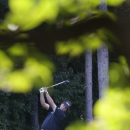 Phil Mickelson hits from the fourth tee during a practice round for the PGA Championship golf tournament at Oak Hill Country Club, Tuesday, Aug. 6, 2013, in Pittsford, N.Y. (AP Photo/Patrick Semansky)