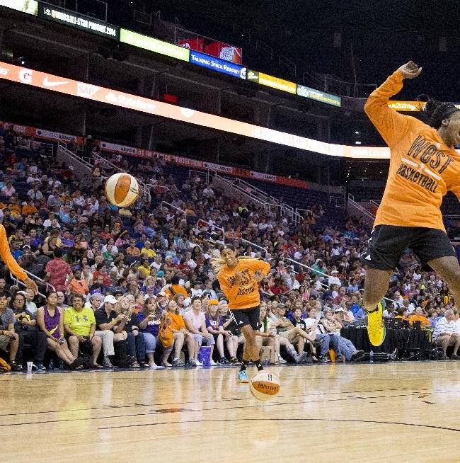WNBA ALL-Stars West conference Nneka Ogwumike celebrates a shot during a group shoot around during an open practice at US Airways Center, Friday, July 18, 2014 in Phoenix