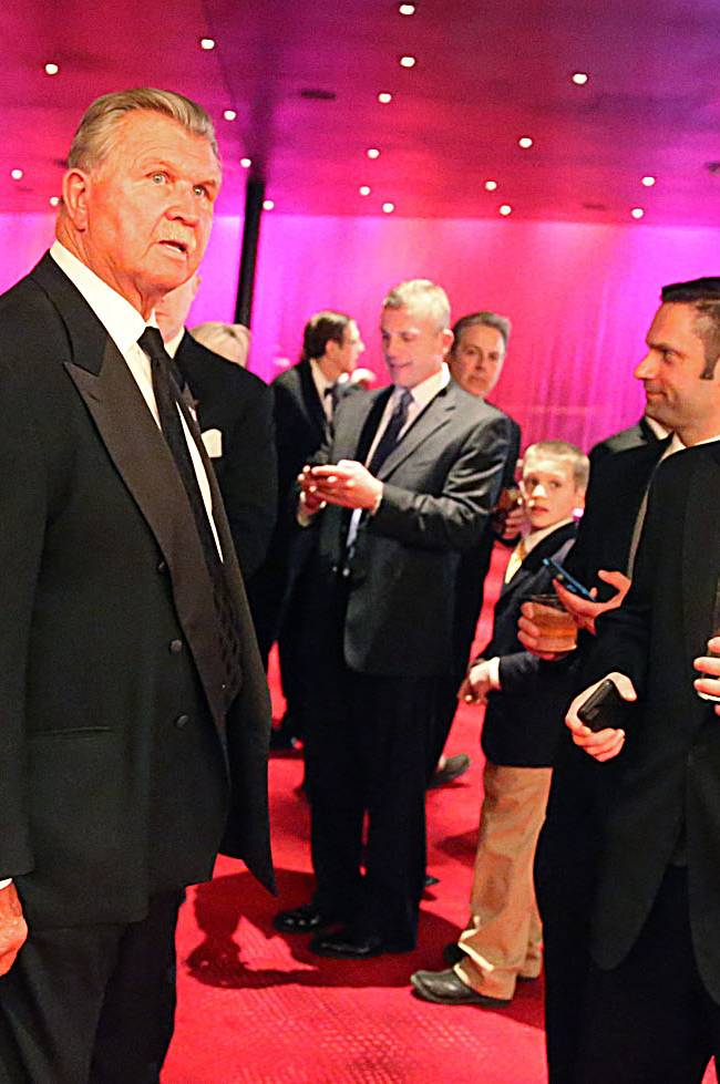 Former NFL coach Mike Ditka mingles with guests outside the Ovation Theater, Friday March 14 2014, at the Maxwell Football Awards at the Revel Casino and Hotel in Atlantic City, N.J