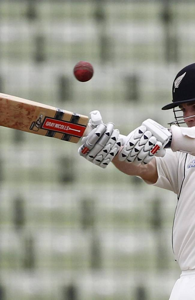 New Zealand's Kane Williamson bats on the third day of the second cricket test match against Bangladesh in Dhaka, Bangladesh, Wednesday, Oct. 23, 2013