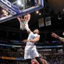 ORLANDO, FL - MARCH 29: Tobias Harris #12 of the Orlando Magic goes up for the slamdunk against the Washington Wizards during the game on March 29, 2013 at Amway Center in Orlando, Florida. (Photo by Fernando Medina/NBAE via Getty Images)