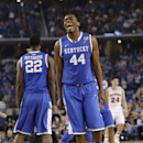 Kentucky center Dakari Johnson (44) celebrates during the second half of an NCAA Final Four tournament college basketball semifinal game against Wisconsin Saturday, April 5, 2014, in Arlington, Texas. (AP Photo/Eric Gay)