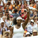 Serena Williams of the United States celebrates winning the singles match against Venus Williams of the United States, at the All England Lawn Tennis Championships in Wimbledon, London, Monday July 6, 2015. Serena Williams won 6-4, 6-3. (AP Photo/Alastair Grant)